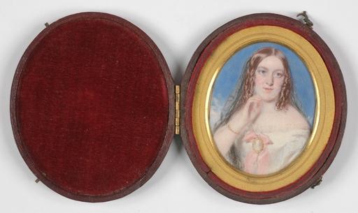 "Thomas CRANE - Dibujo Acuarela - ""Portrait of a Lady"", Miniature on Ivory"