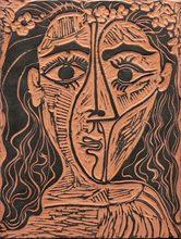 Pablo PICASSO - Céramique - Tete de femme a la couronne de fleurs