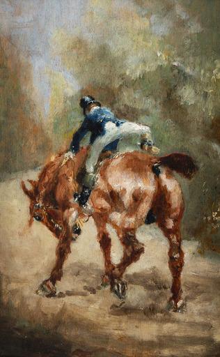 亨利•德•图卢兹-洛特雷克 - 绘画 - Jeune cavalier enfourchant sa monture