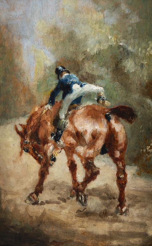 Henri DE TOULOUSE-LAUTREC - Painting - Jeune cavalier enfourchant sa monture