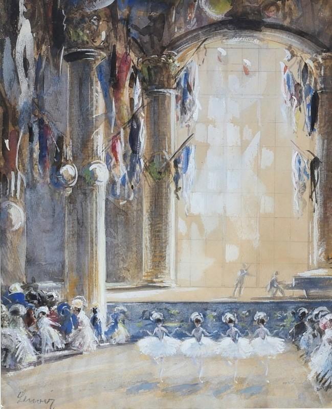 Eugène GALIEN-LALOUE - Drawing-Watercolor - Ballerina at the Concert-Hall