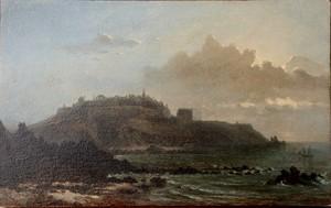 """Léonor Charles Julie COURAYE DU PARC - Painting - """"CÔTE ROCHEUSE AU CLAIR DE LUNE"""""""
