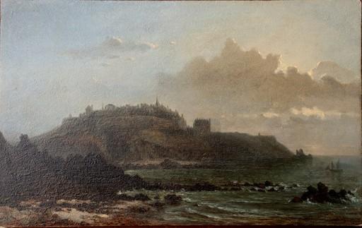 """Léonor Charles Julie COURAYE DU PARC - Pintura - """"CÔTE ROCHEUSE AU CLAIR DE LUNE"""""""