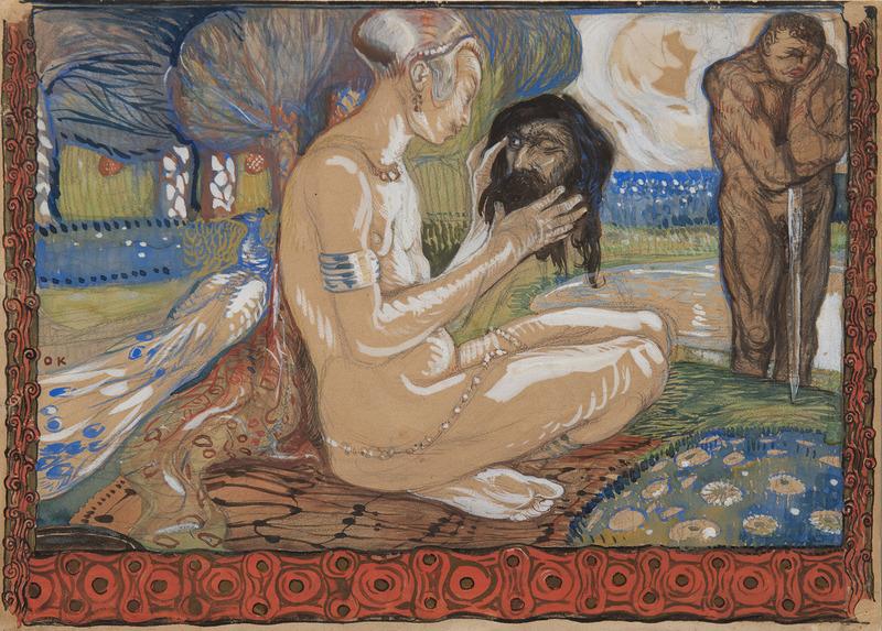 Oskar KOKOSCHKA - Disegno Acquarello - Salomé avec la tête de saint Jean-Baptiste