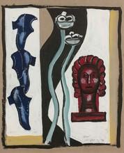 Fernand LÉGER - Dibujo Acuarela - Etude de la composition à la tête rouge