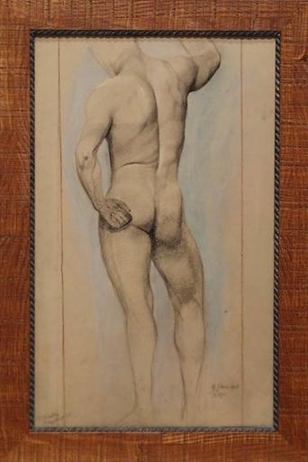 """Emilie MEDIZ-PELIKAN - Dessin-Aquarelle - """"Male Nude"""" by Emilie Mediz-Pelikan (1861-1908)"""