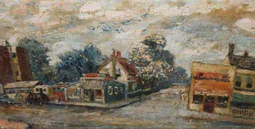 David BURLIUK - Gemälde - Fishermans Village