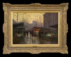 Édouard CORTES, Flower Market at La Madeleine, Dusk