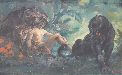 Eugène LELIEVRE - Pintura - Le livre de la Jungle