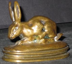 Antoine Louis BARYE - Escultura - Petit lapin oreilles dressées