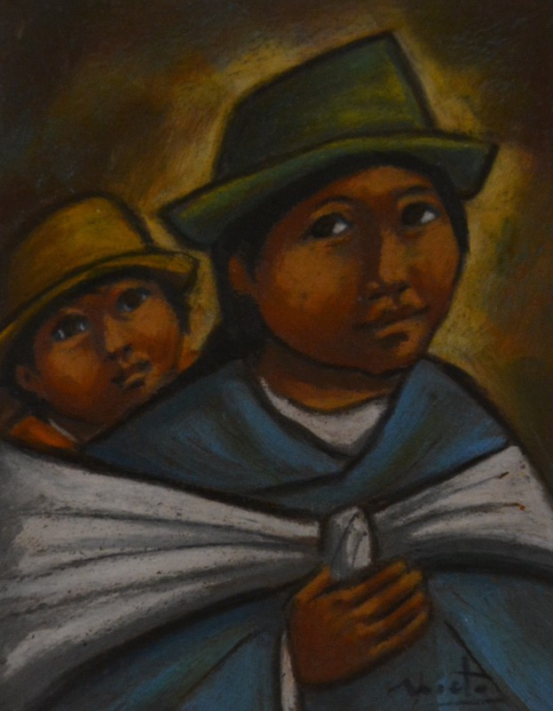 Arturo NIETO - Drawing-Watercolor - Mutter mit Kind
