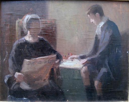 Mathilde ARBEY - Pintura - LA LECTURE AU SALON