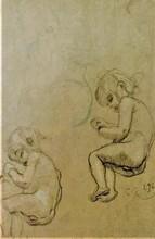 Gustav KLIMT - Drawing-Watercolor - PARGOLI E DONNA DORMIENTI