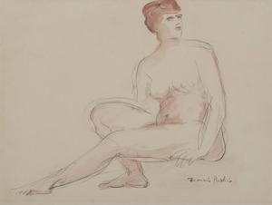 Francis PICABIA - Dessin-Aquarelle - Femme nue assise