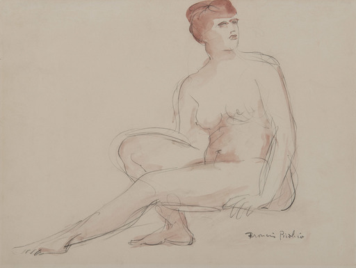 Francis PICABIA - Drawing-Watercolor - Femme nue assise