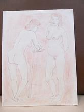 Rolf DIENER - Dibujo Acuarela - Stehender weiblicher Doppelakt
