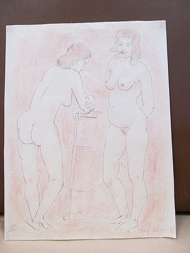 Rolf DIENER - Drawing-Watercolor - Stehender weiblicher Doppelakt