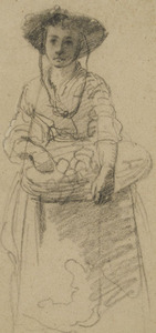 Gerolamo INDUNO - Drawing-Watercolor - YOUNG PEASANT STANDING WITH A PLATTER WITH FRUITS
