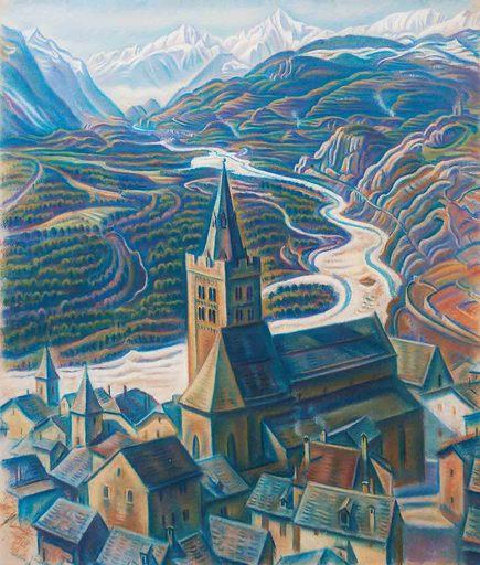 Theodor ALLESCH-ALESCHA - Dibujo Acuarela - Leuk im Wallis