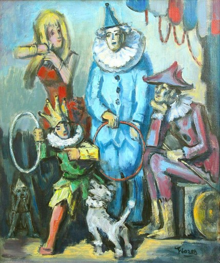Pedro FLORES - Painting - Escene de cirque