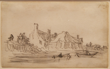 Jan Jozefsz. VAN GOYEN - Dibujo Acuarela - Page from Van Goyen's sketchbook of 1650 - 1651