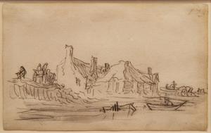 Jan Jozefsz. VAN GOYEN - Drawing-Watercolor - Page from Van Goyen's sketchbook of 1650 - 1651
