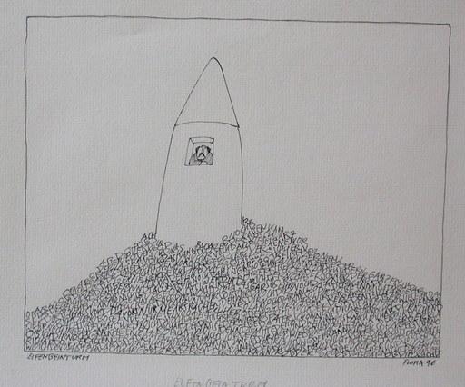 Paul FLORA - Dibujo Acuarela - Elfenbeinturm