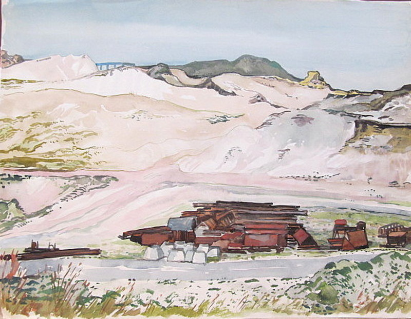 Paul MECHLEN - Drawing-Watercolor - Bauarbeiten (Sandabbau) auf Sylt.