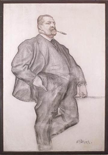 Karl STERRER - Dibujo Acuarela - Large Portrait of Artist J.Q.Adams, 1920s