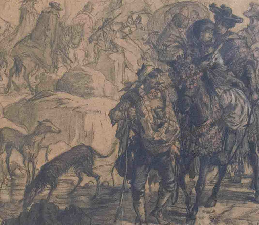 Alexandre C.G. PRÉVOST - Dibujo Acuarela - ROMERIA -  España - CAVALIERS – LEVRIERS – CONTREBANDIER