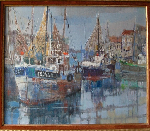 Makoto MASUDA - Peinture - bateaux  de pêche