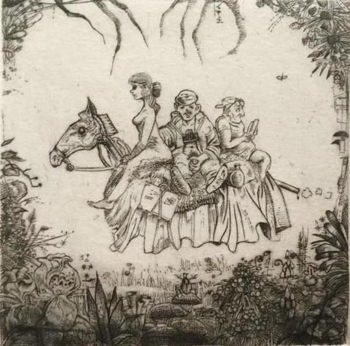 Philippe MOHLITZ - Grabado - Le tourisme à cheval