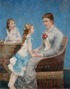 Albert DUBOIS-PILLET - Peinture - Madame Paul Bouchet et ses filles
