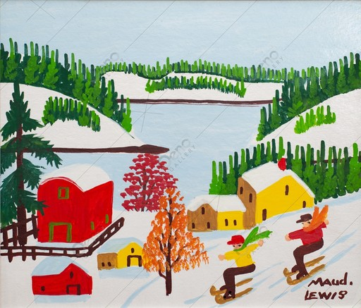Maud LEWIS - Pintura - Skiing at Sandy Cove