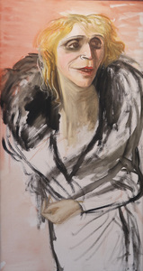 Karl HUBBUCH - Painting - Ohne Titel (Lissy im Pelzmantel).