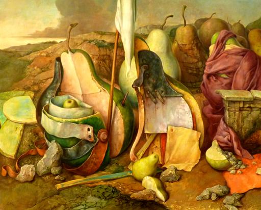 Samuel BAK - Painting - Pears in the Landscape