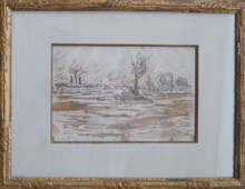 Maximilien LUCE - Drawing-Watercolor - remorqueur sur la seine