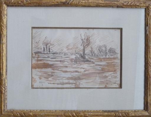 Maximilien LUCE - Zeichnung Aquarell - remorqueur sur la seine