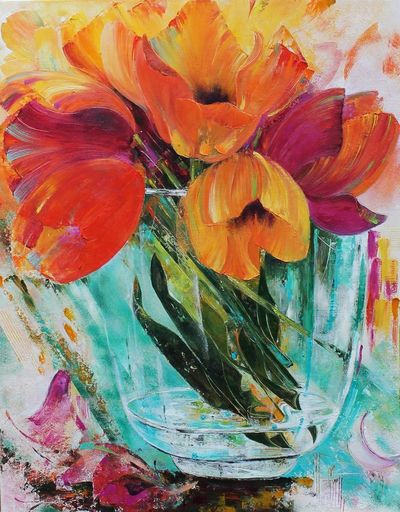 Nadine PILLON - Painting - BOUQUET DEBOUT