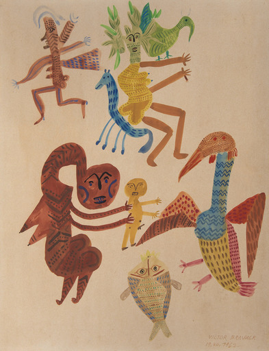 Victor BRAUNER - Disegno Acquarello - Personnages, oiseaux, poissons