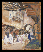 Henri Jean PONTOY - Drawing-Watercolor - Souk de Fes