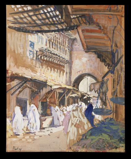 Henri Jean PONTOY - Drawing-Watercolor - Souk de Fes