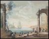 Charles François LACROIX DE MARSEILLE - Drawing-Watercolor - Vedute di porto con capricci