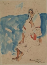 "Pravoslav KOTIK - Peinture - ""Sitting Country Girl"" by Pravoslav Kotik, Watercolour"