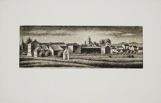 長谷川 潔 - 版画 - Vieux village du Midi (Mouans-Sartoux)