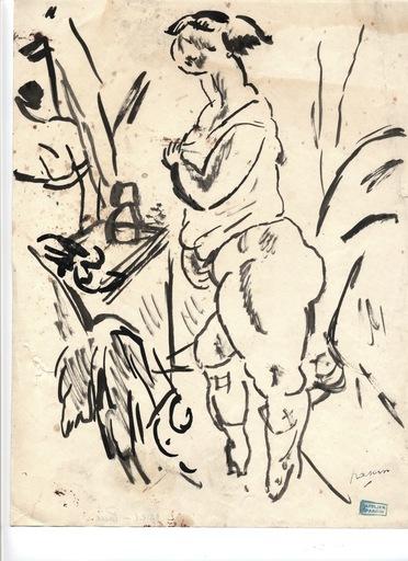 """Jules PASCIN - Dibujo Acuarela - """"Modèle-la toilette"""""""