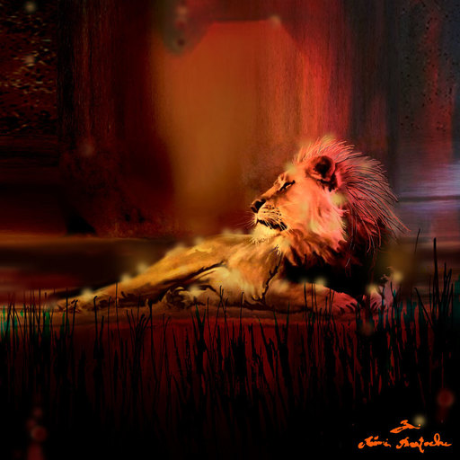 Rémi BERTOCHE - Painting - Lion King