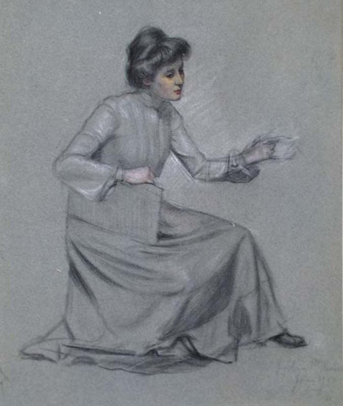"""Georg RANK - Disegno Acquarello - """"Study of a Woman"""" by Georg Rank, early 20th Century"""