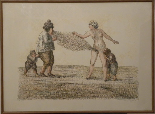 Roland TOPOR - Estampe-Multiple -  scene de menage
