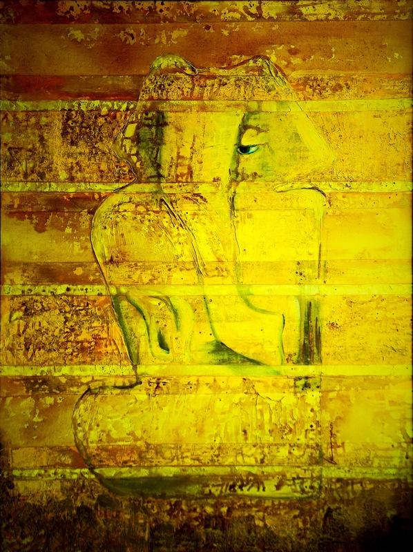 Bansri CHAVDA - Painting - Kapilaya (Yellowish brown hued Lord)